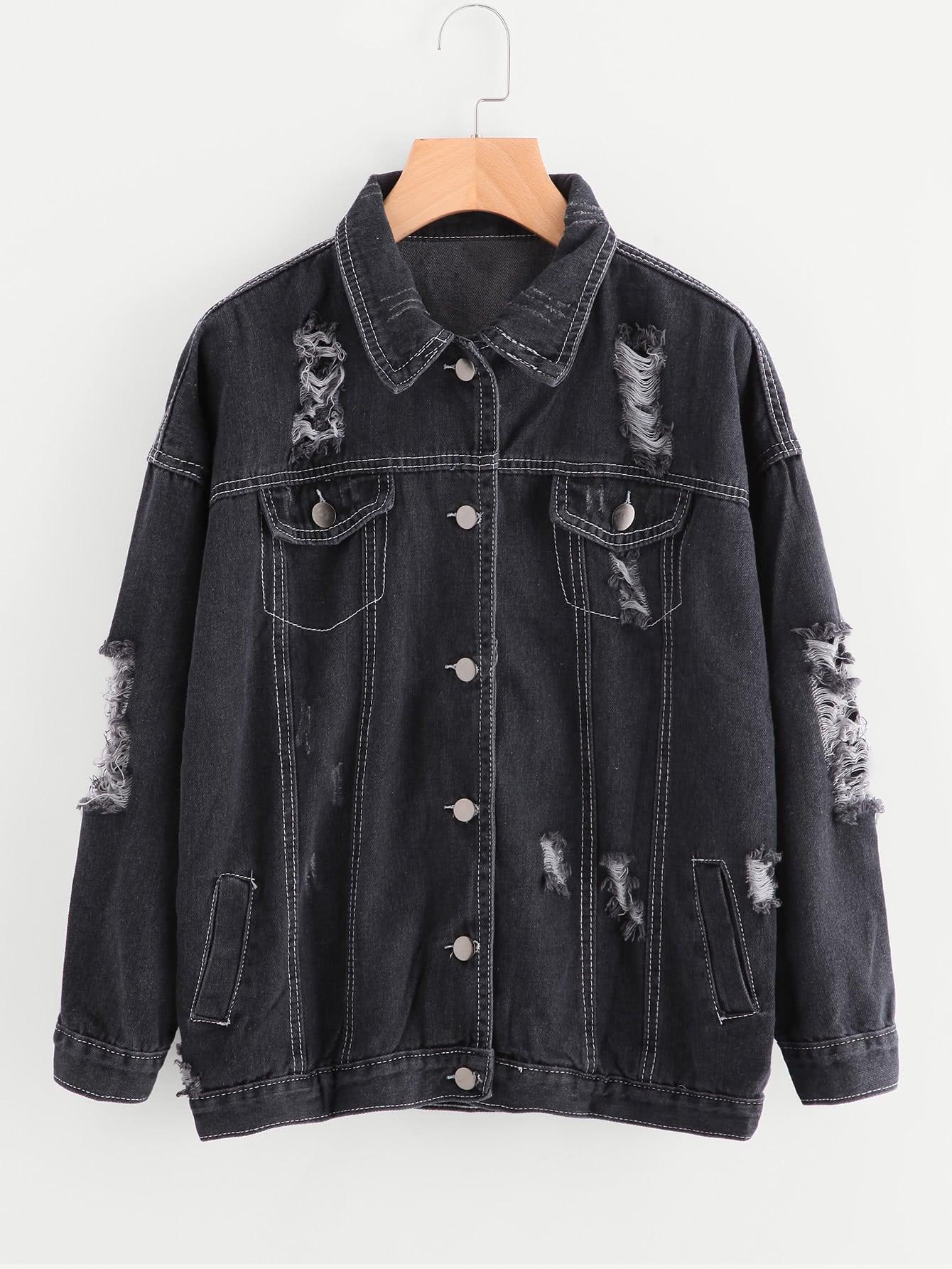 Ripped Stitch Detail Denim Jacket