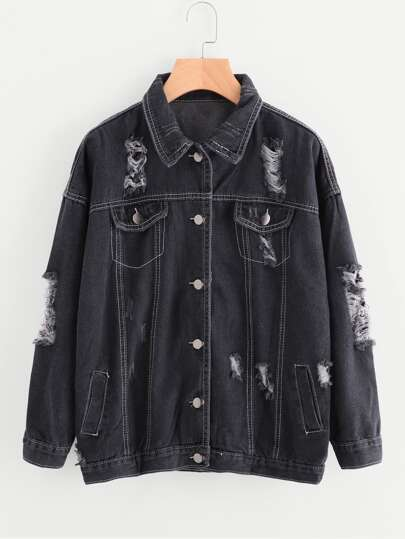 Ripped Stitch Detail Denim Jacket