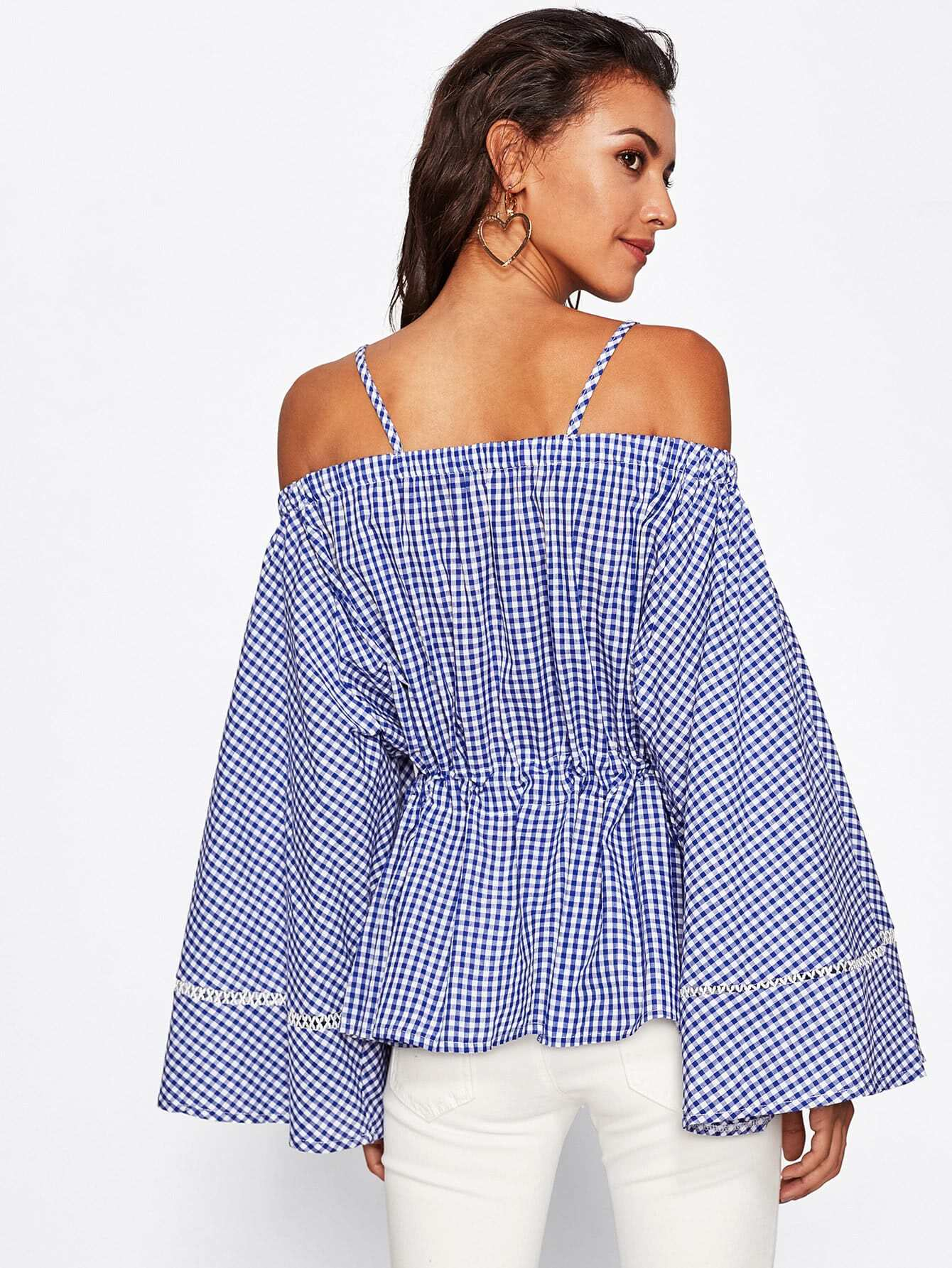 Exaggerated Flute Sleeve Lace Panel Drawstring Gingham Top