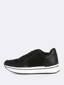 Satin Lace Up Sneakers BLACK