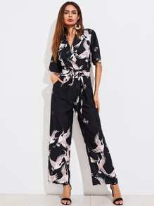 Self Tie Box Pleated Wide Leg Shirt Jumpsuit