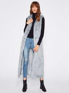 Faux Fur Longline Open Front Vest