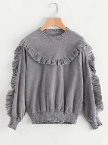 Shirred Trim Frill Corduroy Sweatshirt