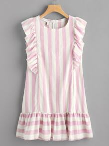 Contrast Striped Frill Trim Dress