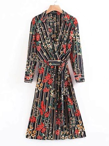 Vertical Striped Floral Tie Waist Wrap Dress