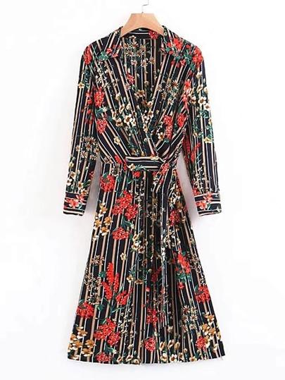 Vertical Striped Floral Tie Waist Wrap Dress