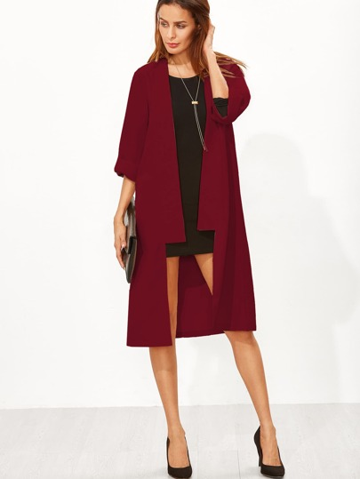Open Front Roll Up Sleeve Duster Coat