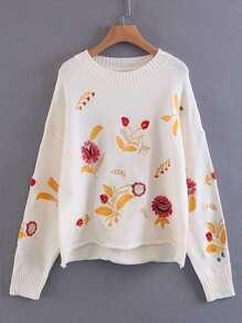Embroidery Design Rolled Hem Knitwear
