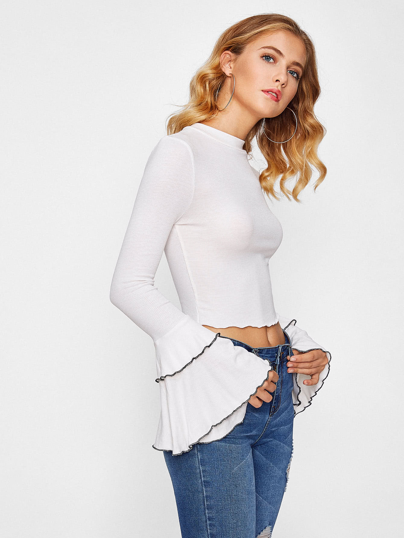 Lettuce Edge Trim Fluted Sleeve Crop Knit Tee off shoulder lettuce edge trim striped tee