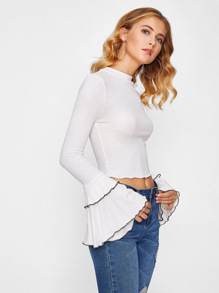 Lettuce Edge Trim Fluted Sleeve Crop Knit Tee