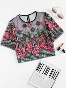 Embroidery Mesh Buttoned Keyhole Blouse