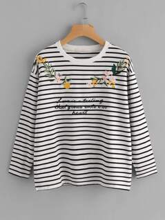 Drop Shoulder Embroidered Striped Tee