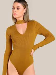 Choker Long Sleeve Ribbed Bodysuit MUSTARD