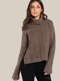 Turtleneck Long Sleeve Top COFFEE