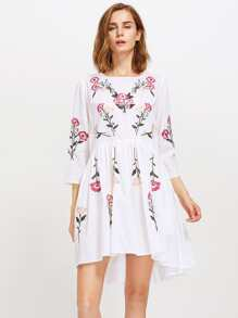 Botanical Embroidered Dip Hem Smock Dress