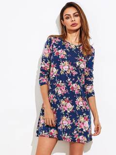 Ditsy Print Swing Tee Dress