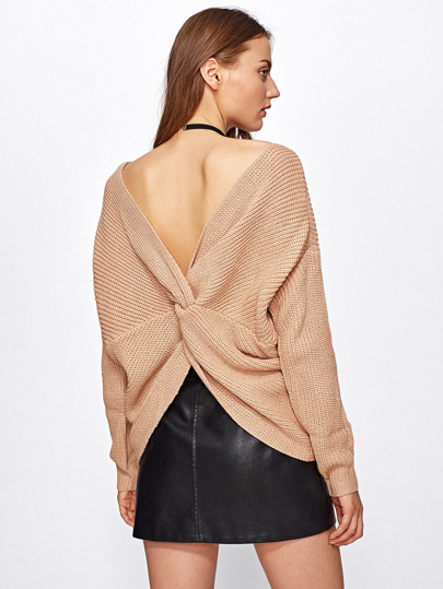 V Back Knot Detail Sweater