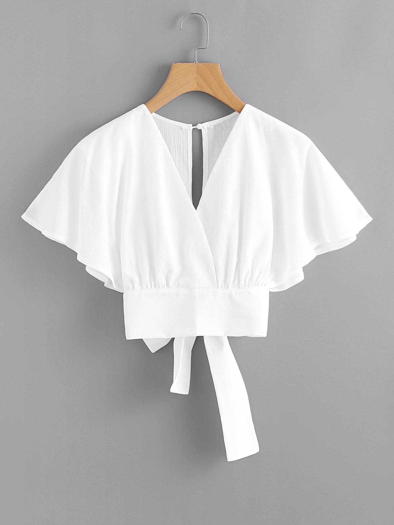 Deep V-cut Split Back Bow Tie Blouse trisa 7719 70