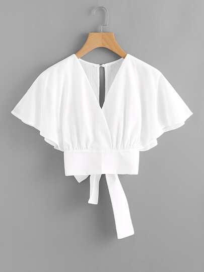 Deep V-cut Split Back Bow Tie Blouse