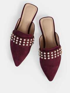 Beaded Band Point Toe Loafers WINE