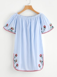 Flower Embroidered Dolphin Hem Bardot Dress