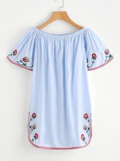 Flower Embroidered Dolphin Hem Bardot Dress
