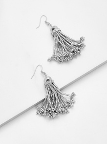 Mini Beaded Design Tassel Shaped Earrings