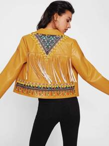 Embroidery Applique And Fringe Detail Biker Jacket