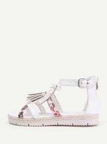 Tassel & Leaf Detail PU Sandals With Bow