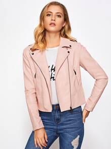 Asymmetric Zipper Quilted Sleeve PU Jacket