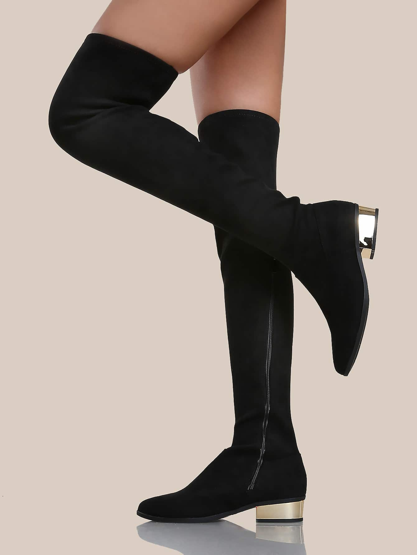 zip up thigh high gold heel boots black shein sheinside