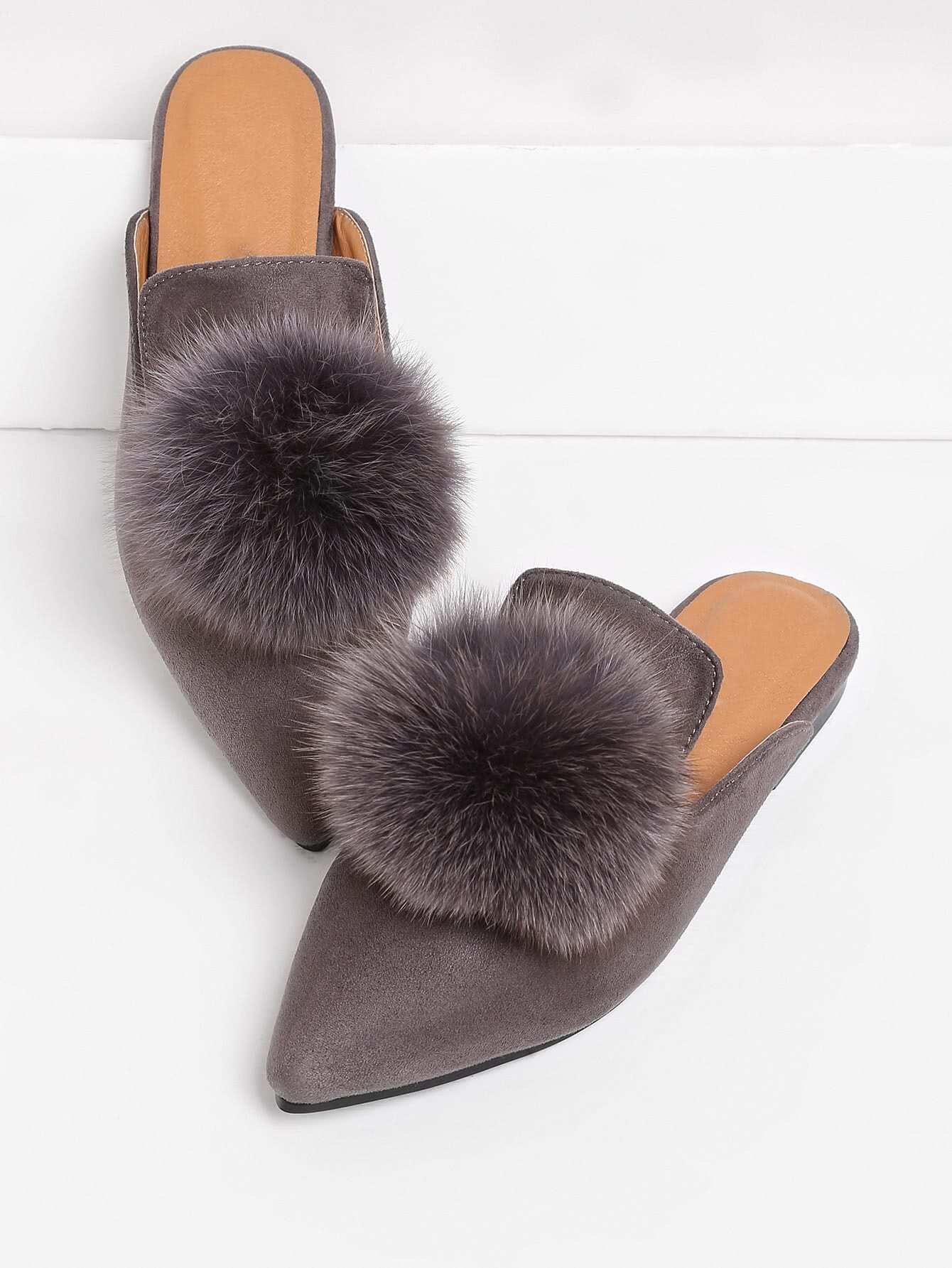 Pom Pom Decorated Pointed Toe Flat Mules EmmaCloth-Women ...