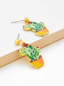 Cactus Design Cute Drop Earrings
