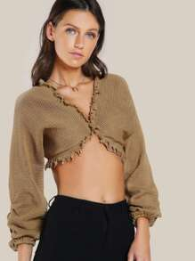 Raw Hem Oversize Long Sleeve Crop Top MOCHA