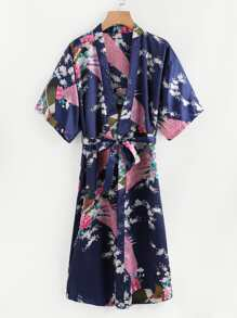 Self Tie Longline Satin Kimono Robe