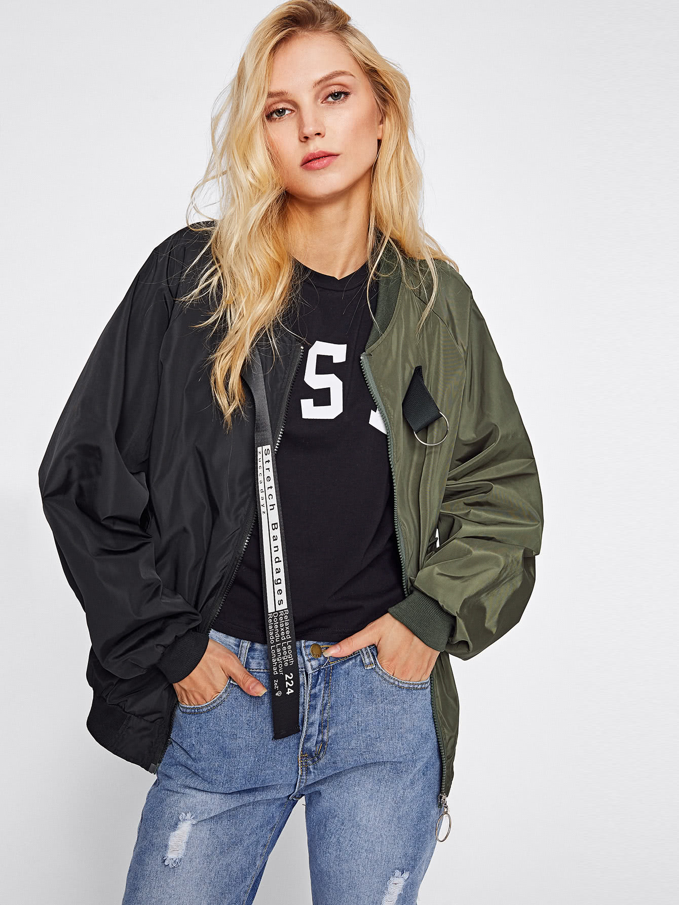 Two Tone Patch Back Letter Ribbon Detail Bomber Jacket two tone drop shoulder sweatshirt