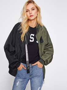 Two Tone Patch Back Letter Ribbon Detail Bomber Jacket