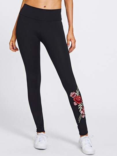 Embroidered Rose Applique Leggings