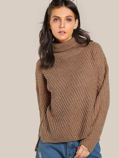 Turtleneck Ribbed Knit Top COFFEE