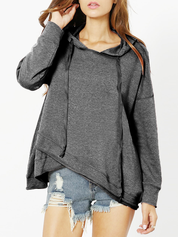 Heather Grey Drop Shoulder Crossover Hoodie drop shoulder crossover sweater