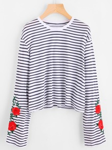 Flower Embroidered Striped Tee
