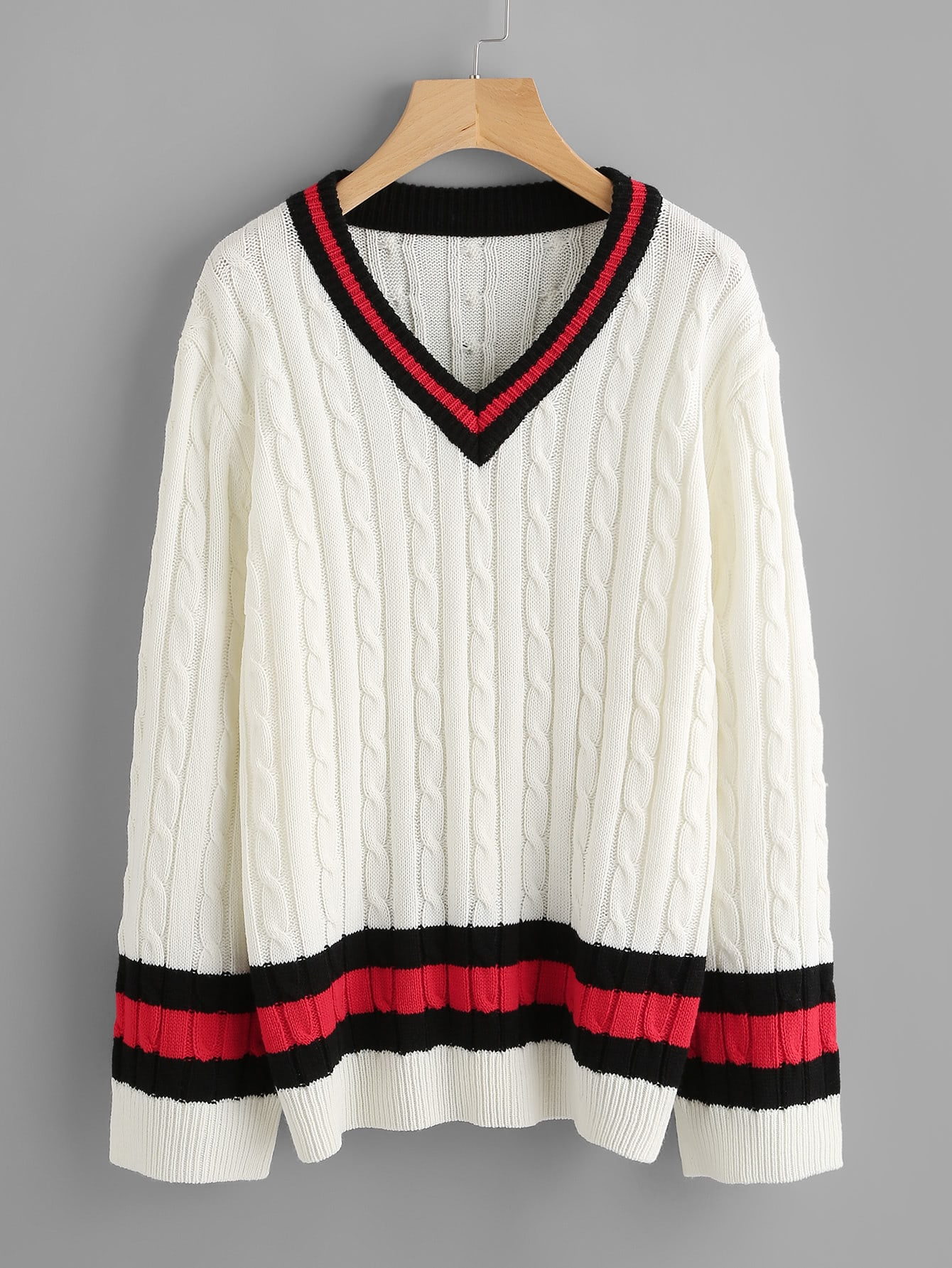 Cable Knit Striped Cricket Jumper pearls beaded cable knit jumper