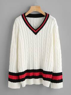 Cable Knit Striped Cricket Jumper