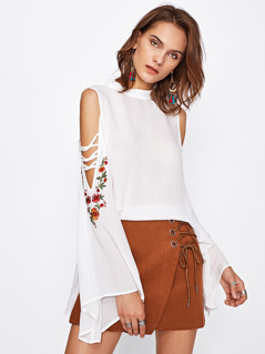 Crisscross Open Shoulder Embroidered Fluted Sleeve Top