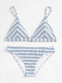 Striped Triangle Bikini Set