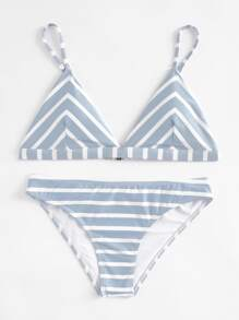 Striped Print Triangle Bikini Set