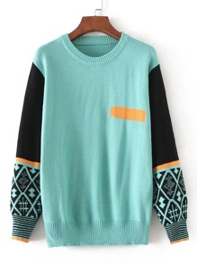Contrast Sleeve Ribbed Trim Sweater