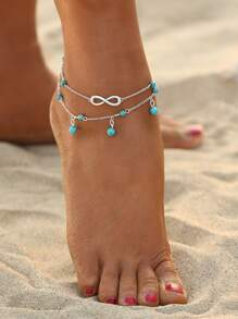 Lucky Eight Design Turquoise Beaded Detail Anklet