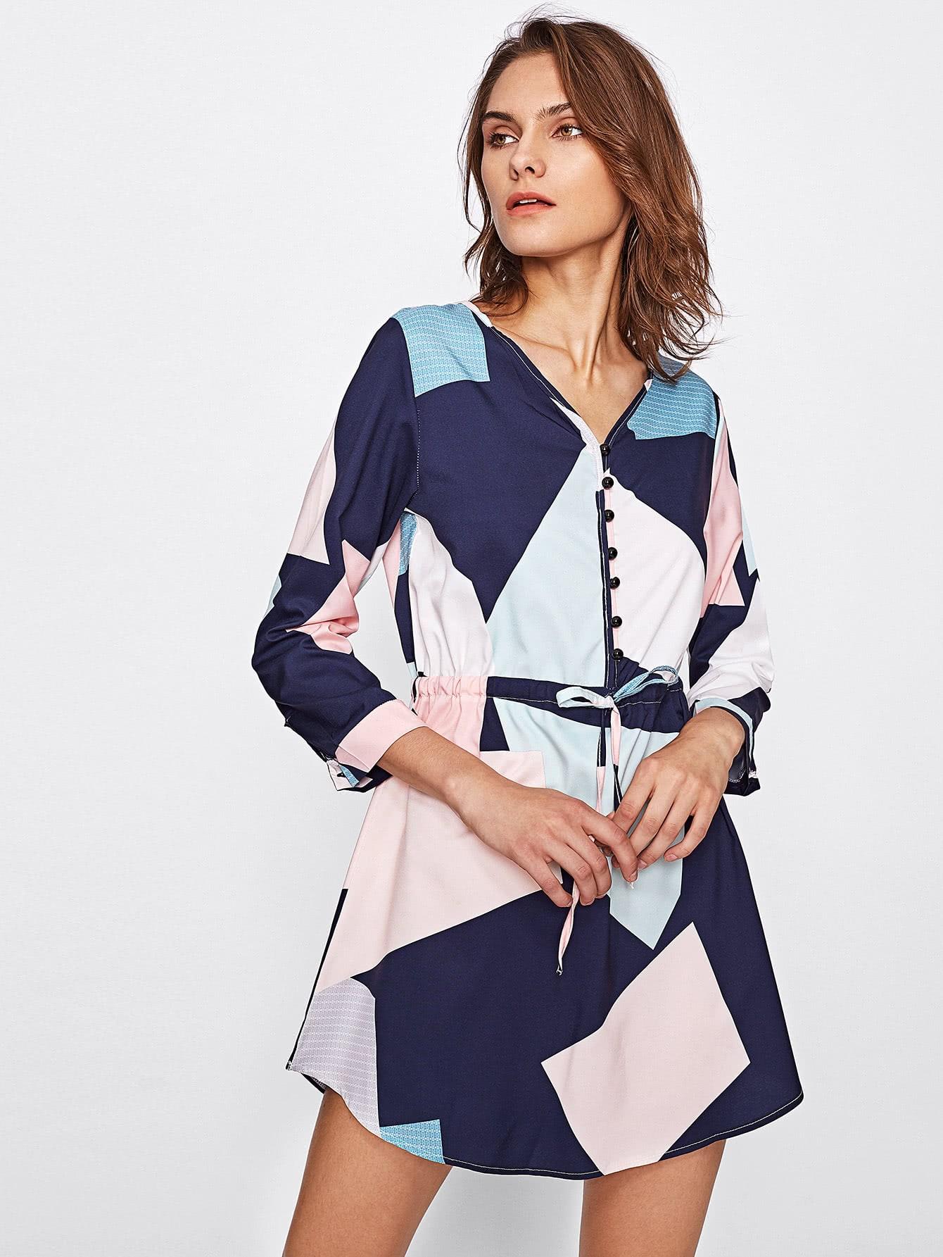 Abstract Geo Print Curved Hem Shirt Dress abstract geo print overall dress