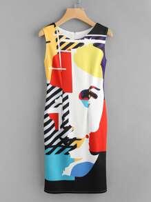 Abstract Print Slit Back Sheath Dress